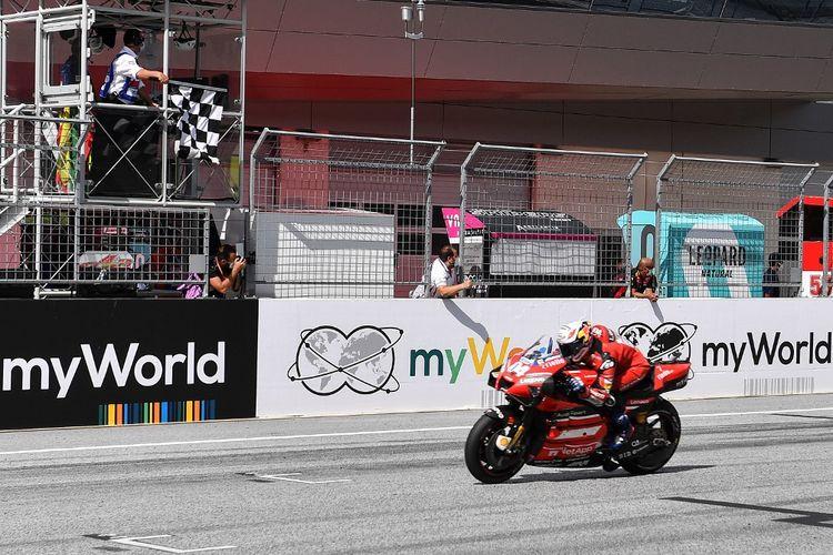 Pebalap Ducati, Andrea Dovizioso, berhasil menjadi juara pada balapan MotoGP Austria 2020 di Red Bull Ring, Austria, Minggu (16/8/2020).