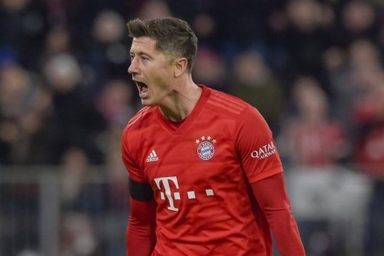 Robert Lewandowski pada laga Bayern vs Paderborn, Sabtu (22/2/2020) dini hari WIB.
