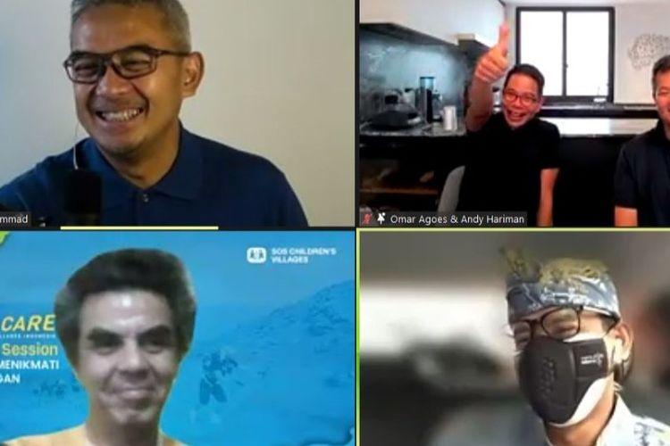 Tangkapan layar pertemuan virtual pada Sabtu (25/9/2021), mengenai ultramarathon 250 kilometer di Gurun Sahara oleh pelari ultramarathon Omar Agoes bersama Run To Care SOS Children's Villages Indonesia.