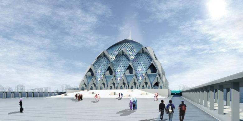 Desain masjid terapung yang akan dibangun di Gedebage, Bandung.