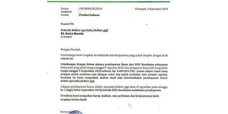 Viral Surat Rs Soal Honor Dokter Telat Karena Bpjs Belum