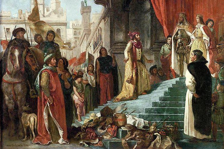 Dalam lukisan karya Eugene Lacroix (1798 – 1863) ini, digambarkan Christoforus Colombus menghadap Raja Ferdinand dan Ratu Isabella dari Spanyol sambil membawa beberapa orang Indian hasil ekspedisinya ke Dunia Baru.