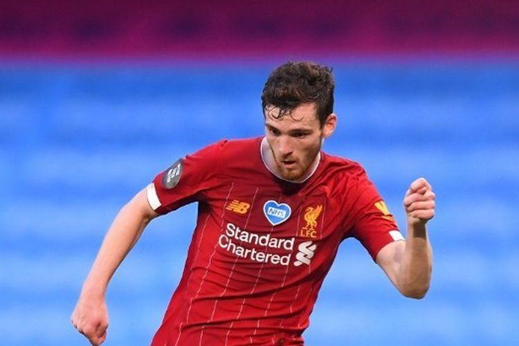 Bek Liverpool, Andy Robertson, dalam laga kontra Man City di Stadion Etihad, Jumat (3/7/2020) dini hari WIB.
