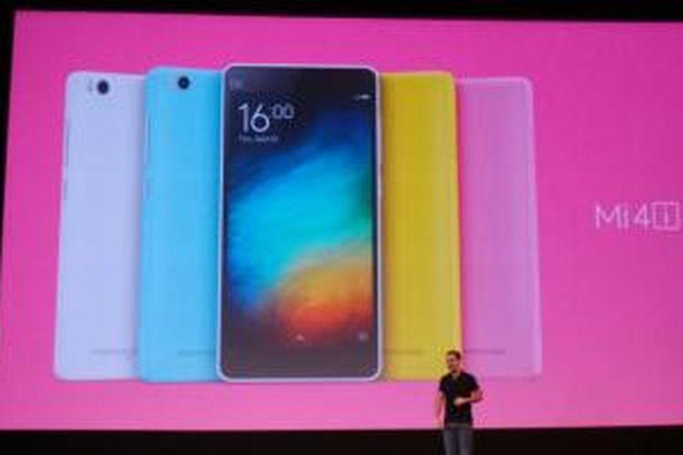 Suasana peluncuran Xiaomi Mi4i di Siri Auditorium, New Delhi, India, Kamis (23/4/2015).