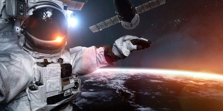 Ilustrasi astronot melakukan spacewalk