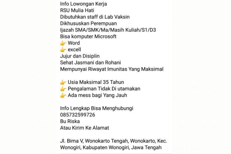 Status Facebook berisi informasi hoaks lowongan pekerjaan di RSU Mulia Hati, Wonogir, Jawa Tengah.