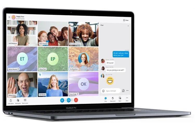 Ilustrasi fitur Call Stage di Skype yang memuat partisipan dalam bentuk galeri gambar yang disusun secara rapi.
