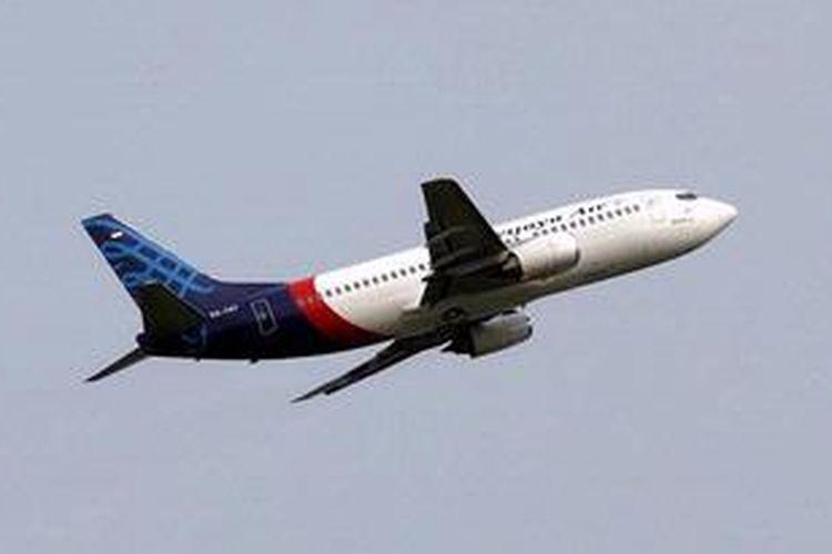 Pesawat Sriwijaya Air tinggal landas meninggalkan Bandara Soekarno-Hatta, Banten