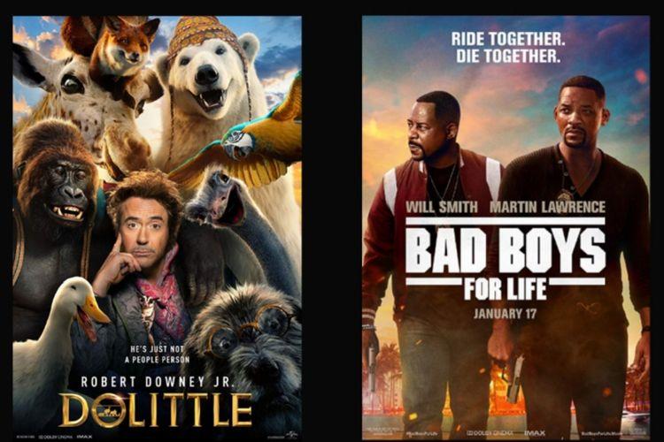 Poster film Dolittle dan film Bad Boys for Life.