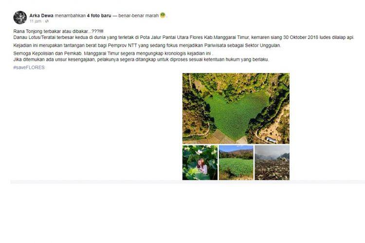 Danau Rana Tonjong di Manggarai Timur terbakar sejak Selasa (30/10/2018).