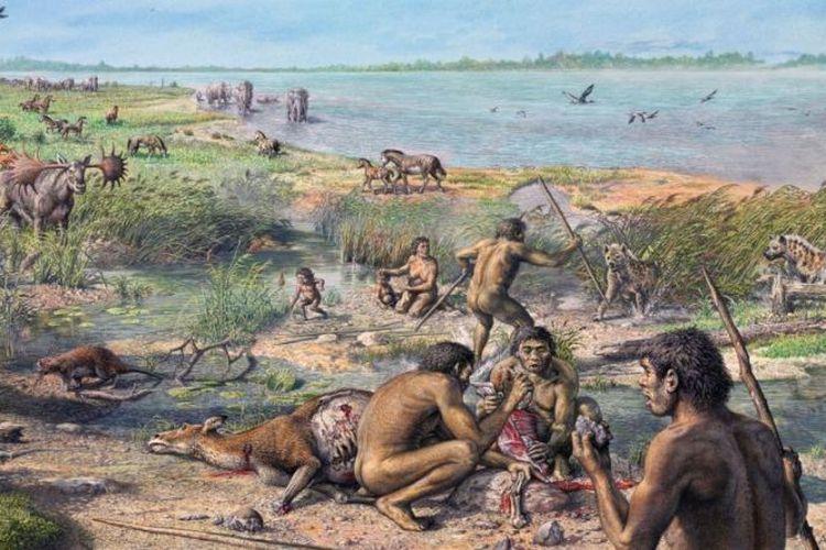 Ilustrasi kehidupan Kala Pleistosen