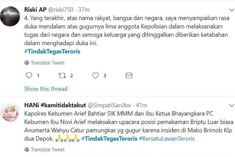 Bidik layar Twitter tentang tagar #tindaktegasteroris