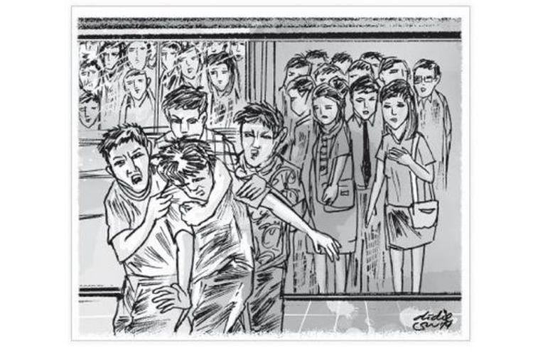Ilustrasi pelecehan seksual di transjakarta
