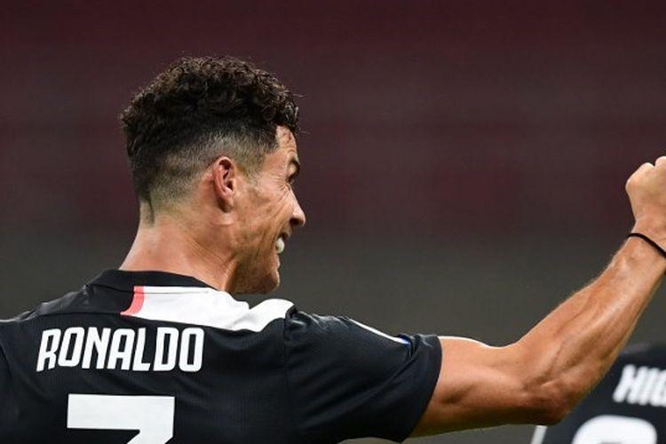 Penyerang Juventus, Cristiano Ronaldo, saat merayakan gol ke gawang AC Milan pada laga lanjutan pekan ke-31 Liga Italia, Rabu (8/7/2020) dini hari WIB.