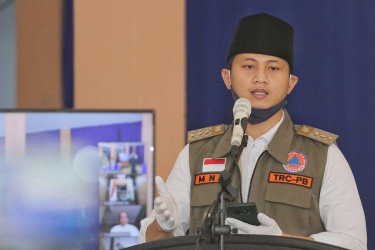 Bupati Trenggalek Mochammad Nur Arifin ketika pemaparan terkait penyaluran BLT di pendopo Kabupaten Trenggalek.