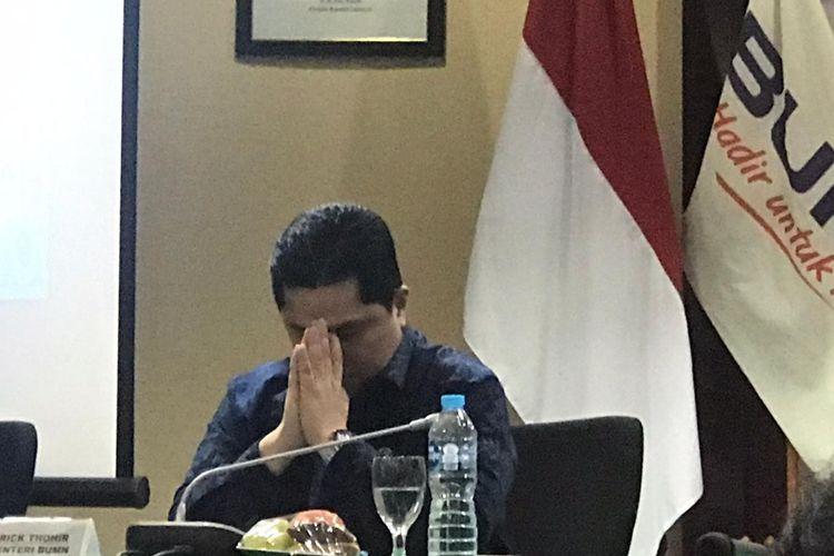Menteri Badan Usaha Milik Negara (BUMN) Erick Thohir di Kementerian BUMN, Jakarta, Selasa (28/1/2020).
