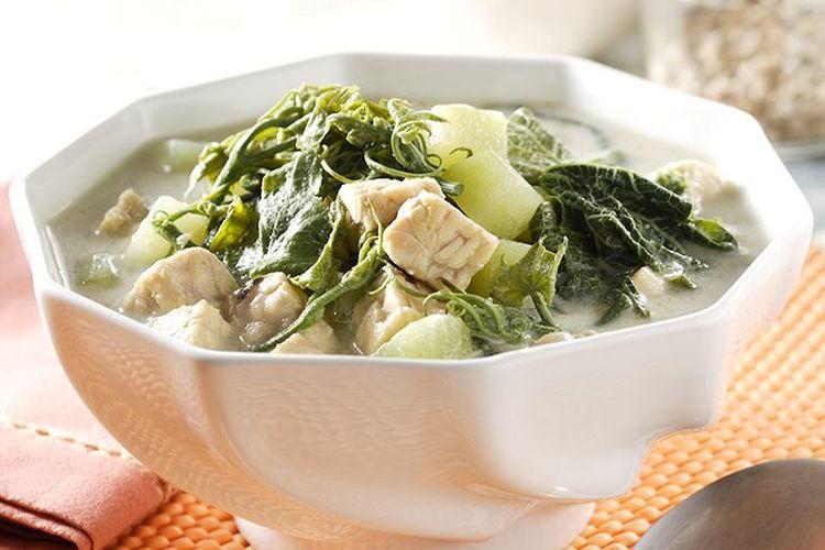 Ilustrasi sayur bobor labu siam dan daun labu ala Sajian Sedap.