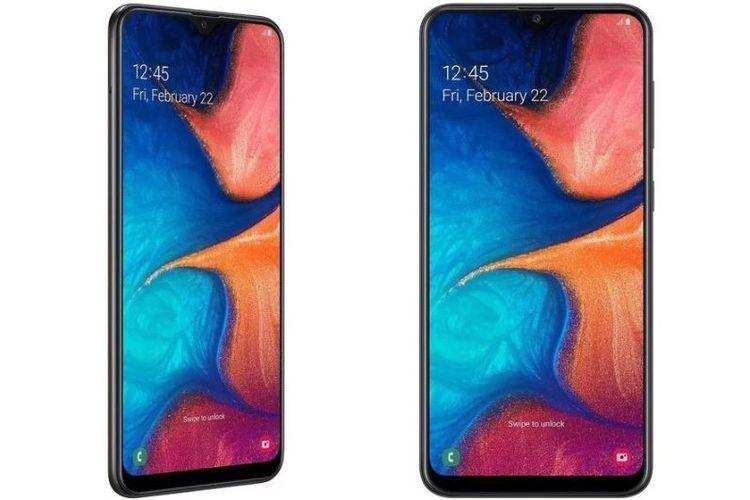 Ilustrasi Galaxy A20 tampak depan