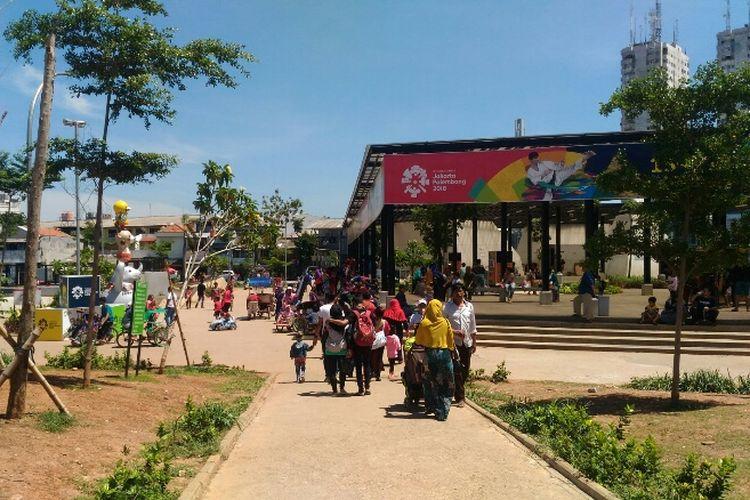 RPTRA Kalijodo menjadi salah satu lokasi rekreasi libur Natal, Senin (25/12/2017).
