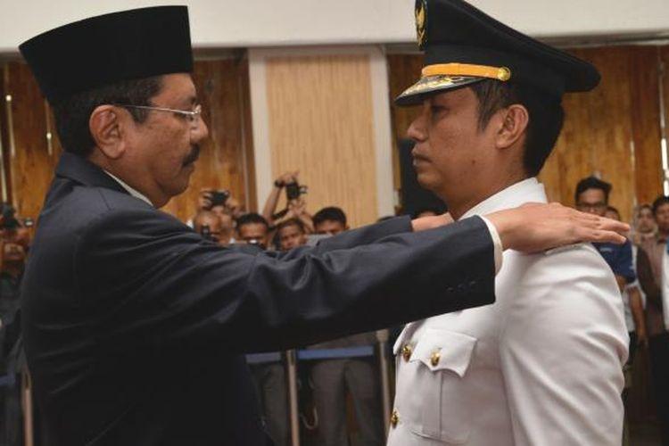 Gubernur Sumatera Utara Ir H Tengku Erry Nuradi MSi melantik Hefriansyah SE MM sebagai Wakil Wali Kota Pematangsiantar, Rabu (22/2/2017)