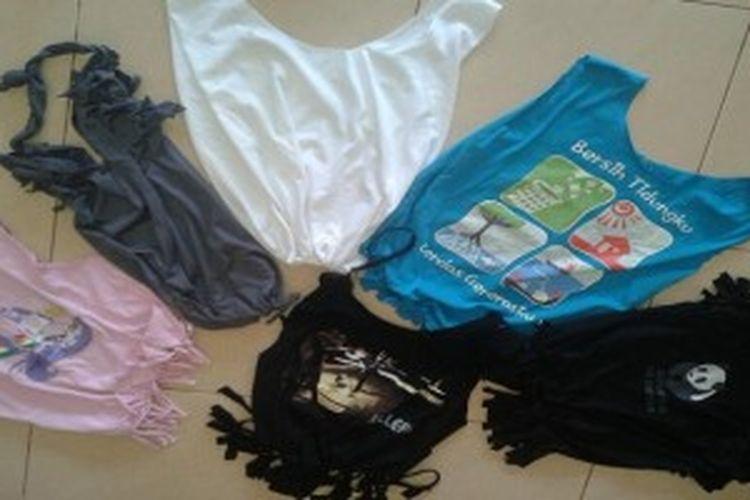 Memanfaatkan pakaian bekas atau yang sudah tidak dipakai bisa dijadikan kantong belanja menarik sesuai dengan kreasi Anda sendiri.