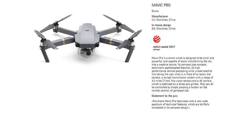 Drone DJI Mavic Pro memenangkan product design reddot award 2017