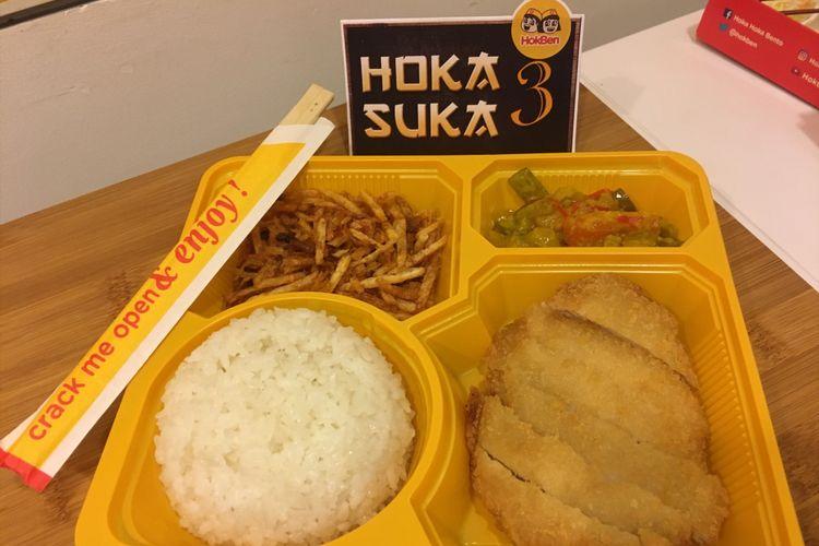 Menu baru dari Hokben Hoka Suka 3, perpaduan antara makanan jepang dengan makanan khas Indonesia, Selasa (20/2/2018).