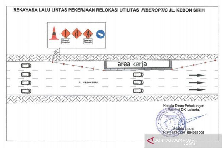 Ilustrasi rekayasa lalu lintas Jalan Kebon Sirih, Jakarta Pusat, untuk pengerjaan jaringan utilitas bawah tanah.