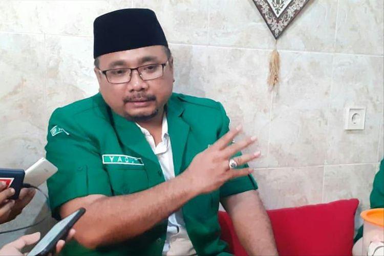 Ketua Umum PP GP Ansor, Yaqut Cholil Qoumas usai membuka Konferensi Wilayah GP Ansor Jawa Timur di Ponpes Sabilurrosyad Kota Malang, Minggu (28/7/2019)