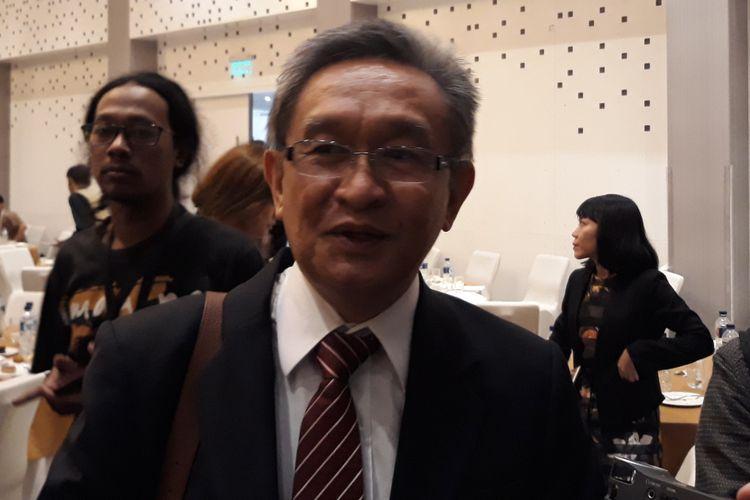 Pengacara Maqdir Ismail di Hotel Le Meridien, Jakarta, Rabu (25/7/2018).