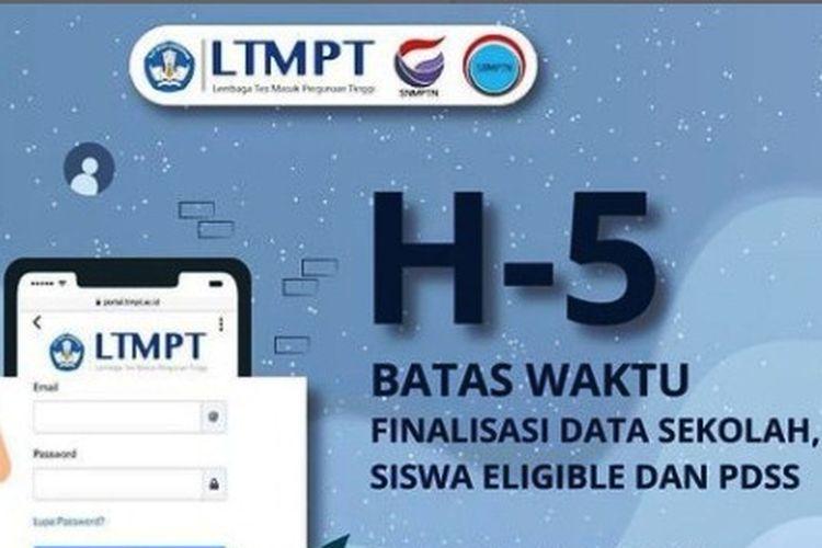 H-5 batas waktu finalisasi data sekolah, siswa eligible dan PDSS pada SNMPTN 2021.