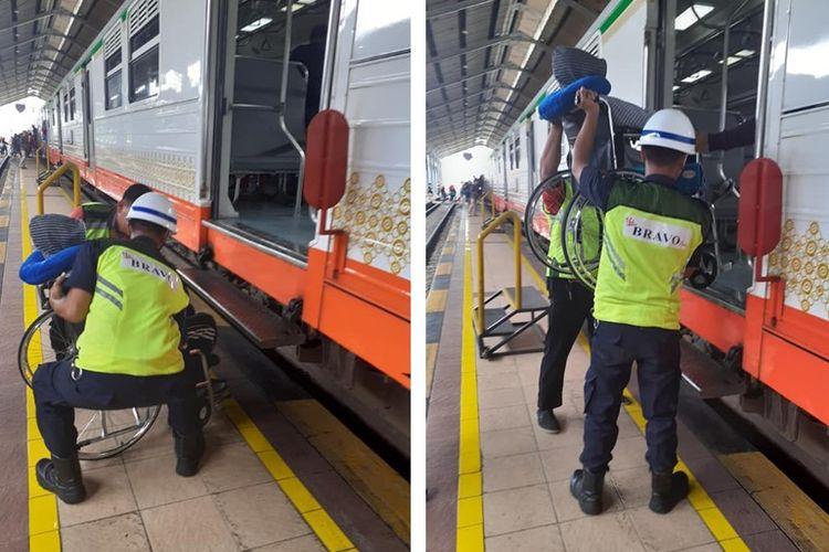 Tangkapan layar dari sebuah unggahan petugas kemanan Stasiun Solo Balapan bantu angkat penumpang yang gunakan kursi roda saat hendak naik kereta api.
