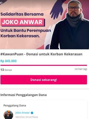 Tangkapan layar donasi yang digalang Joko Anwar untuk perempuan korban kekerasan di laman Kitabisa.com