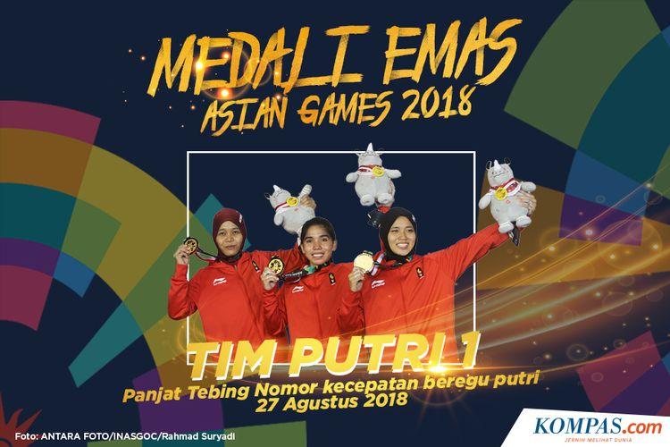 Tim putri 1 panjat tebing Indonesia Puji Lestari (kiri), Rajiah Sallsabillah (tengah) dan Aries Susanti Rahayu (kanan) memperlihatkan medali emas setelah menjadi pemenang pada final nomor kecepatan beregu putri Asian Games 2018 di Arena Panjat Tebing Jakabaring, Palembang, Sumatera Selatan, Senin (27/8/2018).