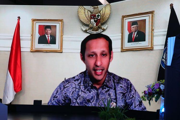 Menteri Pendidikan dan Kebudayaan Indonesia, Nadiem Makarim memberikan sambutan dalam peresmian MNP (18/9/2021).