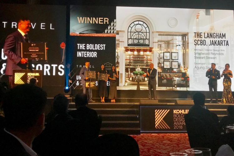 The Langham Residence memenangi kategori Travel Urban and Resirts Hotel Interior Design pada ajang Kohler Bold Design Awards 2018, yang digelar Jumat (8/3/2019).
