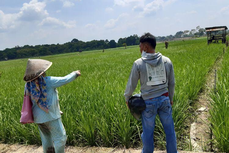 Salah satu petani perempuan (kiri) Desa Kunangan, Kecamatan Taman Rajo, Kabupaten Muaro Jambi menunjukkan letak san batasan sawahnya.