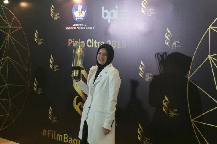 Cut Mini usai memenangi Piala Citra FFI 2019 di Studio Metro TV, kawasan Kedoya, Jakarta Barat, Minggu (8/12/2019).