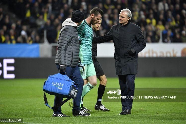 David De Gea mengalami cedera otot pada laga lanjutan Kualifikasi Euro 2020 Swedia vs Spanyol di Stadion Friends Arena, Selasa (15/10/2019) atau Rabu dini hari WIB
