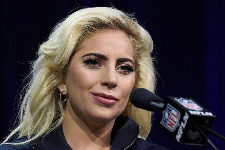 Lady Gaga menghadiri konferensi pers Pepsi Zero Sugar Super Bowl LI Halftime Show di Houston, Texas, AS, pada Kamis (2/2/2017) waktu setempat.