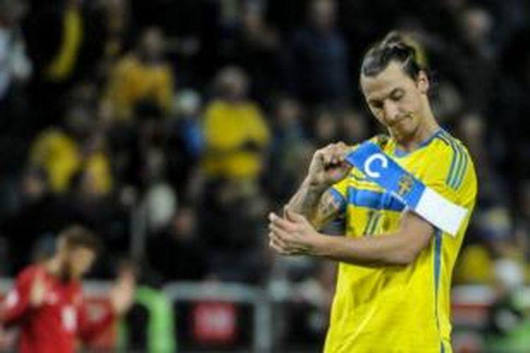 Striker tim nasional Swedia, Zlatan Ibrahimovic.