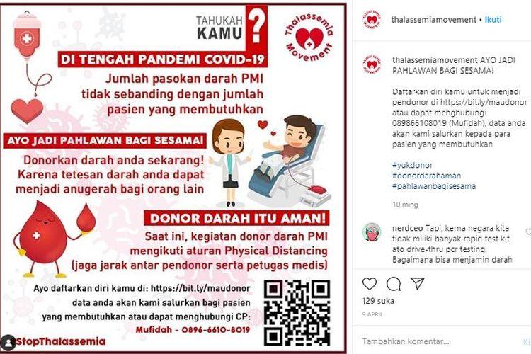 Tangkapan layar unggahan ajakan donor darah dari Thalassemia Movement