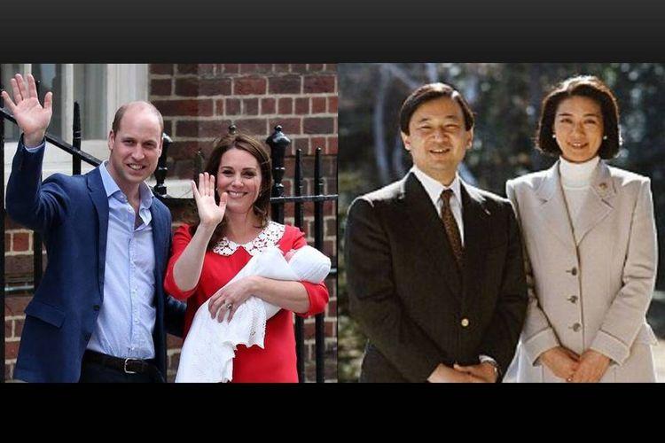 Putri Masako dan Pangeran Naruhito (kanan) dan pasangan Pangeran William dan Kate Middleton.