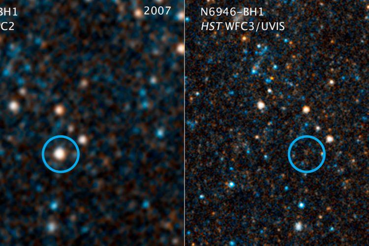 Foto dari teleskop Hubble yang menunjukkan hilangnya bintang N6946-BH1 dari galaksi NGC 6946.