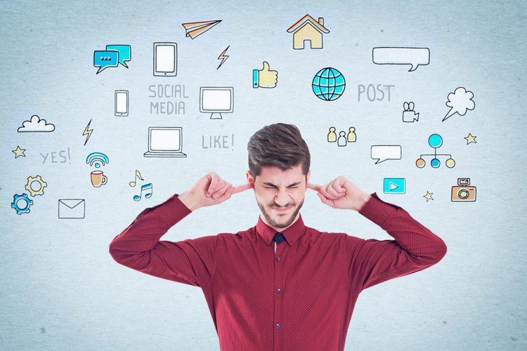 Ilustrasi stres karena media sosial