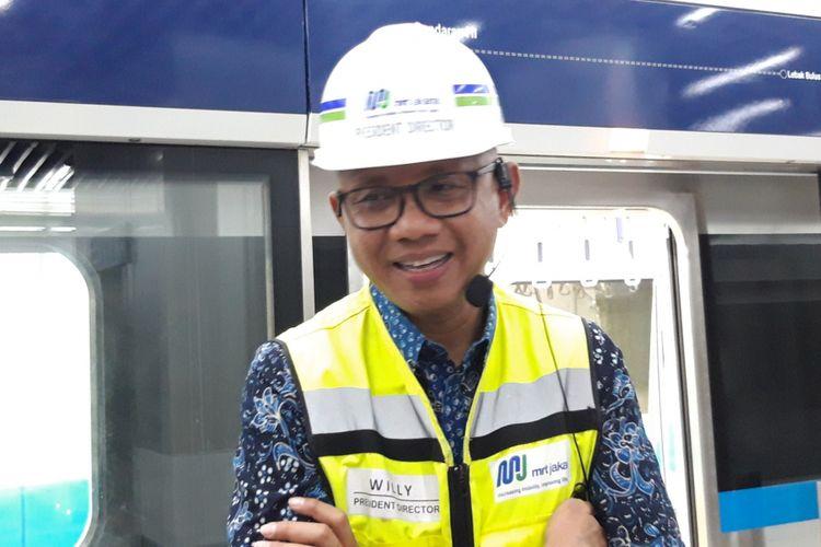 Direktur Utama MRT Jakarta William P Sabandar di Stasiun Bundaran HI, Kamis (28/2/2019)