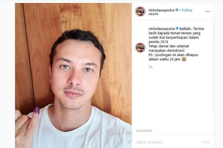 Artis peran Nicholas Saputra memenuhi janji mengunggah swafoto di akun Instagram-nya, @nicholassaputra, untuk menunjukkan bahwa ia sudah menggunakan hak suara, Rabu (17/4/2019).