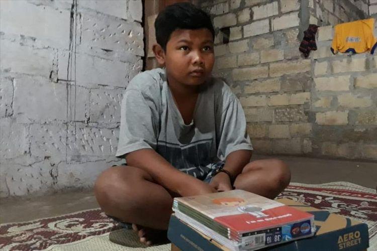 Pasha Pratama (12) warga Padukuhan Bulu, RT 05 RW 14, Desa Bejiharjo, Kecamatan Karangmojo,Gunungkidul Saat Ditemui Kamis (11/7/2019)