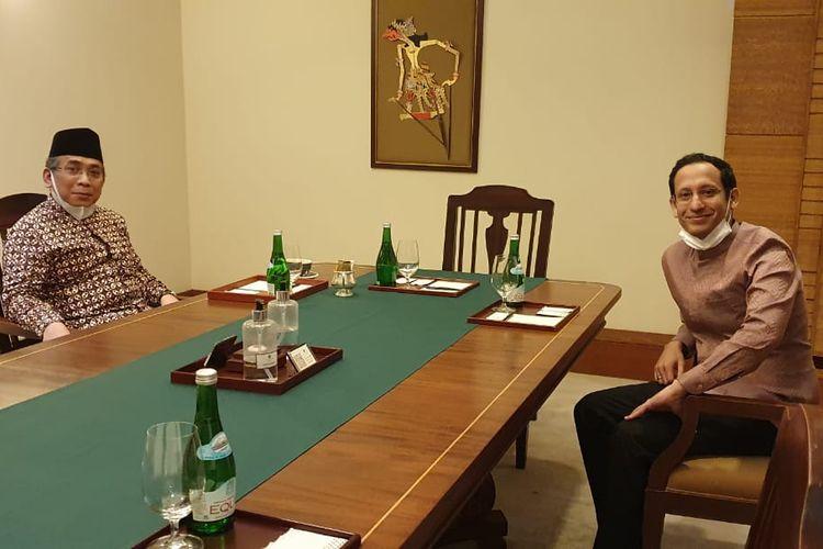 Katib Am Pengurus Besar Nahdlatul Ulama (PBNU) Yahya Cholil Staquf bertemu dengan Menteri Pendidikan dan Kebudayaan (Mendikbud) Nadiem Makarim, Kamis (6/8/2020) siang.