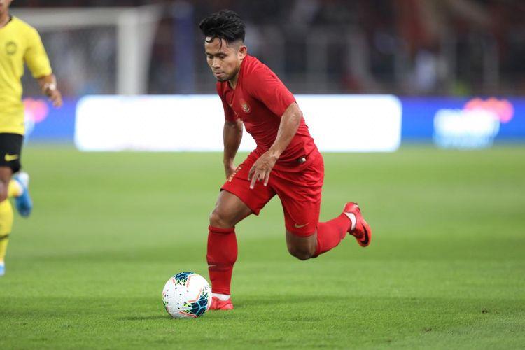 Andik Vermansah saat tampil pada laga Indonesia vs Malaysia di Stadion Utama Gelora Bung Karno, Senayan, Jakarta, Kamis (5/9/2019).